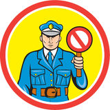 Traffic Policeman Stop Hand Signal Cartoon Stock Photos