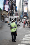 Traffic policeman on Times Square. New York Royalty Free Stock Photo