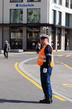 Traffic policeman working in Zurich Royalty Free Stock Photos