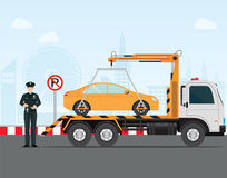 Traffic policeman writing a parking ticket to car in no parking. Area and tow away no parking sign, vector illustration Stock Photography