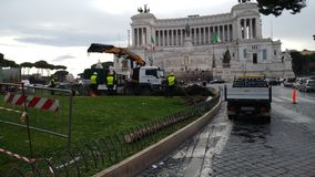 Removal of the Christmas tree Spelacchio from Piazza Venezia, Ro stock photography