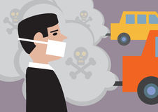 Traffic Pollution. A man wearing a mask to lessen the effect of toxic, traffic pollution Stock Photo
