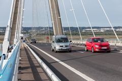 Traffic at Pont de Normandie, French bridge over river Seine Royalty Free Stock Photos