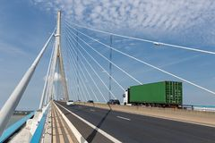 Traffic at Pont de Normandie, French bridge over river Seine Stock Image