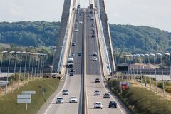 Traffic at Pont de Normandie near Le Havre in France Stock Photo