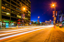 Traffic on Pratt Street at night, in Baltimore, Maryland. Stock Image