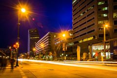 Traffic on Pratt Street at night in Baltimore, Maryland. Royalty Free Stock Photography
