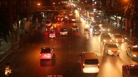Traffic problem in Bangkok. Traffic jams at night time. BANGKOK, THAILAND - CIRCA DEC, 2014: Traffic problem in Bangkok. Traffic jams at night time stock footage