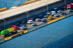 Traffic problem on a bridge Stock Photos