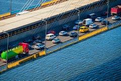Traffic problem on a bridge Stock Photos