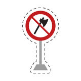 Traffic prohibited axe wooden tool weapon pole Stock Photography