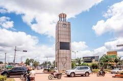 Traffic at Queensway Tower Clock in Kampala city,Uganda Stock Photo
