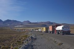 Traffic Queue on the  Altiplano of Northern Chile Royalty Free Stock Photos