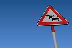 Traffic Queues Road Sign Royalty Free Stock Photos