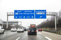Munich , Germany - February 16 2018 : Traffic is queuing in motorway. Traffic is queuing on motorway close to Munich Royalty Free Stock Image