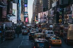 Traffic queuing in Times Square in Midtown Manhattan, New York, USA. royalty free stock image