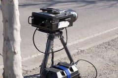 Traffic Radar. Mobile traffic radar located in an urban street Royalty Free Stock Images