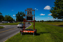 Traffic Radar Speed Check Sign. Hershey, PA - August 22, 2016: A speed radar check device near the Penn State Hershey Medical Center complex Stock Photos