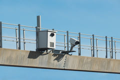 Traffic radar used in speed enforcement with Automatic number pl Royalty Free Stock Photos