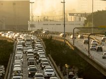 Traffic on Radial Leste Avenue. Sao Paulo, SP, Brazil, June 26, 2018. Heavy traffic on the East-West connection, Radial Leste Avenue, at morning day, in downtown royalty free stock photos