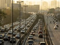 Traffic on Radial Leste Avenue. Sao Paulo, SP, Brazil, June 26, 2018. Heavy traffic on the East-West connection, Radial Leste Avenue, at morning day, in downtown stock photography
