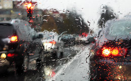 Traffic and rain Royalty Free Stock Photo