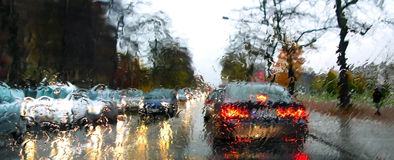 Traffic and rain. Dense traffic on a rainy day Stock Photo