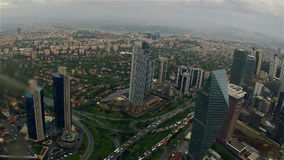 Traffic and Rain. Timelapse. Turkey, Istanbul. Summer. Cloudy weather and rain. Raindrops are falling on the camera lens. Panoramic view from skyscraper to the stock video