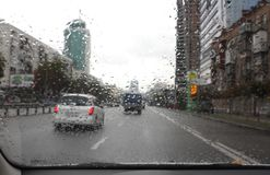 Traffic on the rainy day in the city