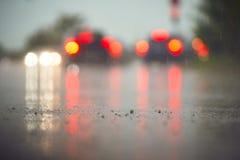 Traffic in rainy day Royalty Free Stock Photo