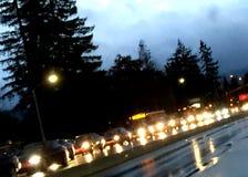 Traffic on rainy night Royalty Free Stock Image