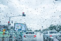 Traffic in the rainy season Stock Photos