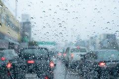Traffic in the rainy season, traffic jam Stock Images