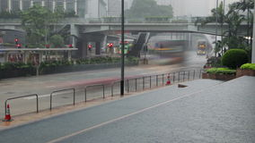 Traffic on the Rainy Street of Hong Kong stock video footage