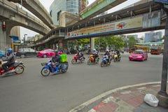 Traffic on Ratchaprasong Erawan shrine Royalty Free Stock Photography