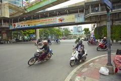 Traffic on Ratchaprasong Erawan shrine Stock Images