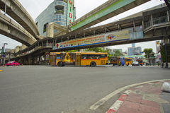 Traffic on Ratchaprasong Erawan shrine Royalty Free Stock Photo