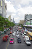 Traffic on ratchaprasong road Stock Photo