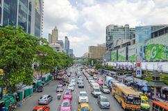 Traffic on ratchaprasong road Stock Image