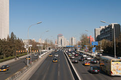 Traffic on 3rd Ring Road in Beijing. China Royalty Free Stock Photography