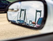 Traffic in the rear view mirror Stock Image