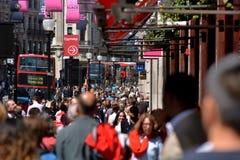 Traffic on Regent street London UK. LONDON, UK - MAY 14 2015:Traffic on Regent street London UK.According to London Mayor 8.615 million people call the capital Stock Photography