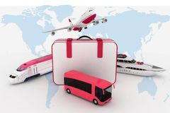 Traffic resources with suitcase Royalty Free Stock Images