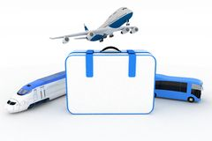 Traffic resources with suitcase Royalty Free Stock Photography
