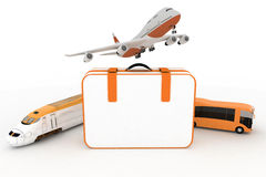 Traffic resources with suitcase Stock Images