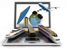 Traffic resources with suitcase, globe and umbrella on laptop screen Royalty Free Stock Images