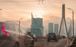 Traffic in Riga city. On the bridge Stock Photo