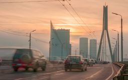 Traffic in Riga city. On the bridge Royalty Free Stock Photos