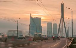 Traffic in Riga city. On the bridge Royalty Free Stock Image