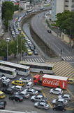 Traffic. Rio de Janeiro, Brazil - july 04, 2017:  Vehicles close the intersection of important roads of the city. Situation of disrespect with the other cars in Royalty Free Stock Photos